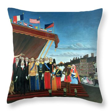 Representatives Of The Forces Greeting The Republic As A Sign Of Peace Throw Pillow by Henri Rousseau