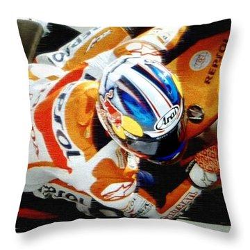 Repsol Honda Throw Pillow by Bill Stephens