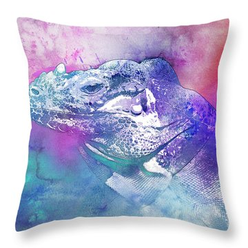 Throw Pillow featuring the mixed media Reptile Profile by Jutta Maria Pusl