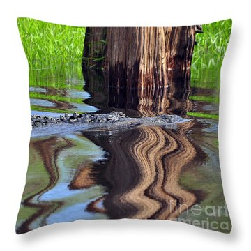Throw Pillow featuring the photograph Reptile Ripples by Al Powell Photography USA