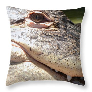 Reptilian Smile Throw Pillow