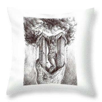 reptilluminatidomination II Throw Pillow by Darwin Leon