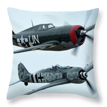 Republic P-47g Thunderbolt Nx3395g Focke Wulf Fw 190a-9 N190rf Chino California April 30 2016 Throw Pillow by Brian Lockett