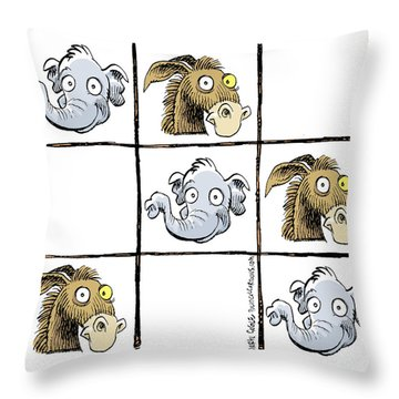 Republicans Win Tic Tac Toe Throw Pillow