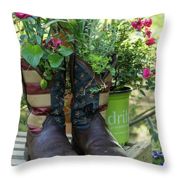 Repurposed Cowboy Boots Throw Pillow by Jerry Gammon