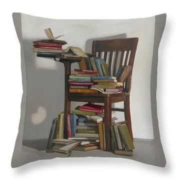 Required Reading Throw Pillow by Gail Chandler