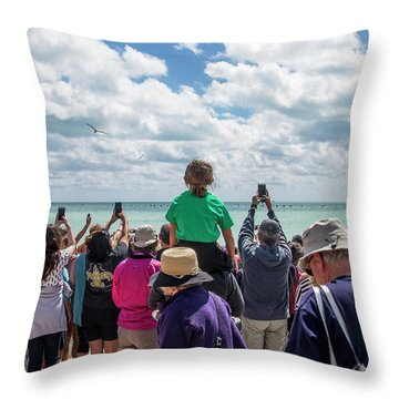 Throw Pillow featuring the photograph Rescued Turtle Being Released At Higgs Beach In Key West by Bob Slitzan