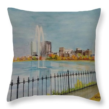 Reservoir In Central Park Throw Pillow