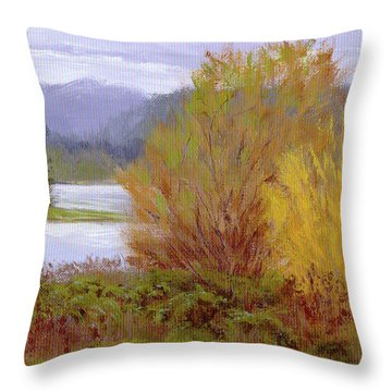 Reservoir Spring Throw Pillow by Karen Ilari