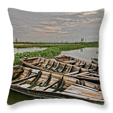 Throw Pillow featuring the photograph Rest Of Boat by Arik S Mintorogo