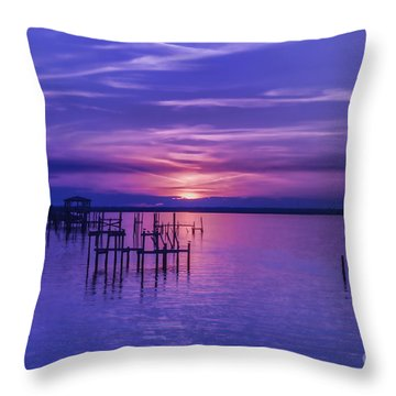 Rest Well World Purple Sunset Throw Pillow