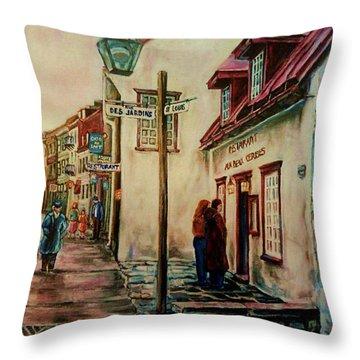 Restaurant Aux Anciens Canadiens Quebec City Throw Pillow by Carole Spandau