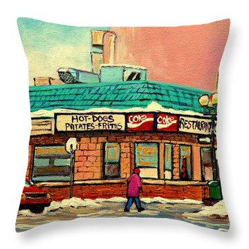 Restaurant Greenspot Deli Hotdogs Throw Pillow by Carole Spandau