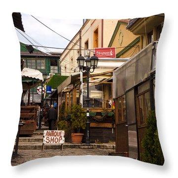 Restaurants In The Bazaar Throw Pillow by Rae Tucker
