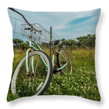 Resting Bike With Flowers Throw Pillow