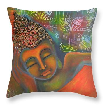 Buddha Resting Against A Colorful Backdrop Throw Pillow