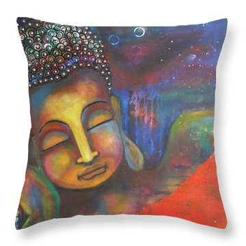 Buddha Resting Under The Full Moon  Throw Pillow
