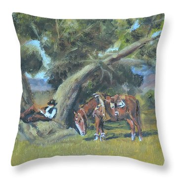 Throw Pillow featuring the painting Resting Cowboy Painting A Study by Katalin Luczay