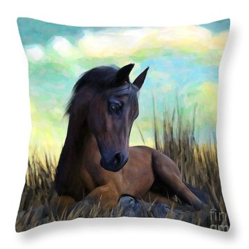 Resting Foal Throw Pillow
