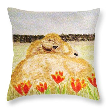 Resting In The Tulips Throw Pillow by Angela Davies