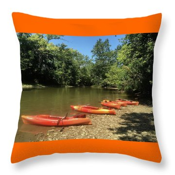 Resting Kayaks Throw Pillow