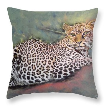 Resting Leopard Throw Pillow by Richard James Digance