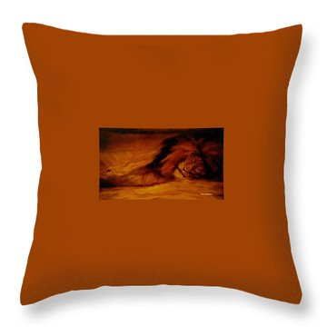 Resting Lion Throw Pillow by Arlene Rabinowitz