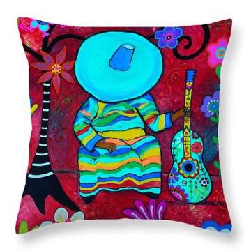 Throw Pillow featuring the painting Resting Mariachi by Pristine Cartera Turkus