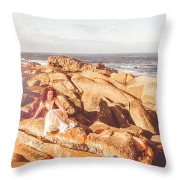 Resting On A Cliff Near The Ocean Throw Pillow