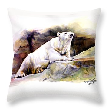 Resting Polar Bear Throw Pillow