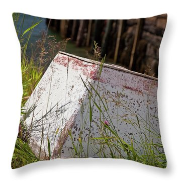 Throw Pillow featuring the photograph Resting Rowboat by Susan Cole Kelly