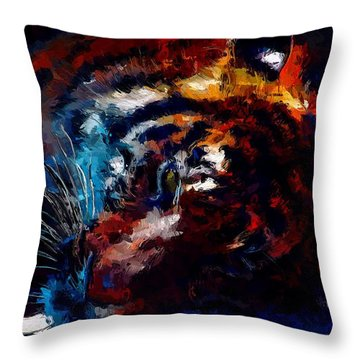Throw Pillow featuring the painting Resting Tiger by Mark Taylor