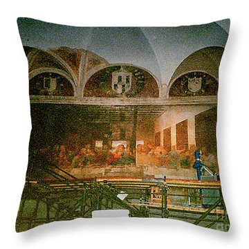 Throw Pillow featuring the photograph Restoring Divinci's Last Supper - Milan, Utaly by Merton Allen