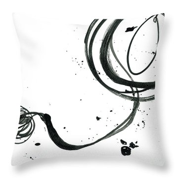 Resurface - Revolving Life Collection - Modern Abstract Black Ink Artwork Throw Pillow