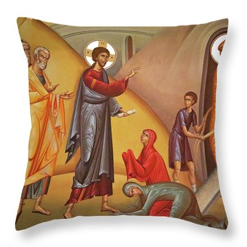Throw Pillow featuring the painting Resurrection Of Lazarus by Munir Alawi