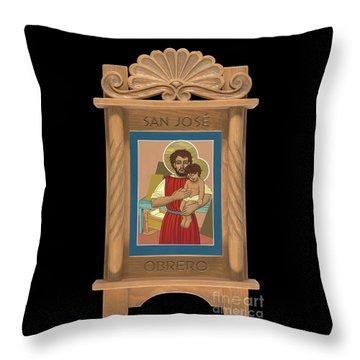 Throw Pillow featuring the painting Retablo De San Jose Obrero by William Hart McNichols