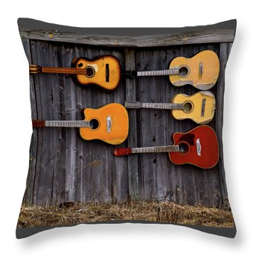 Retired Guitars  Throw Pillow