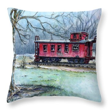 Retired Red Caboose Throw Pillow
