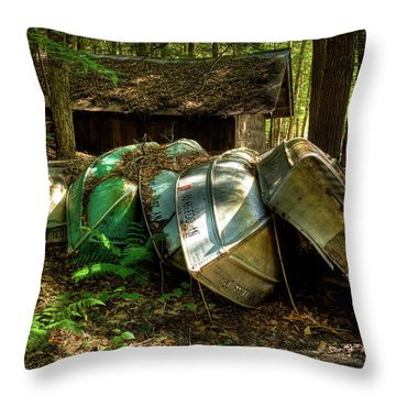 Throw Pillow featuring the photograph Retired Rowboats by David Patterson