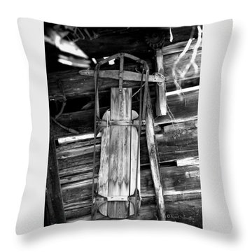 Retired Snow Sled Throw Pillow