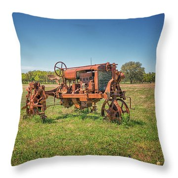 Retired Tractor Throw Pillow