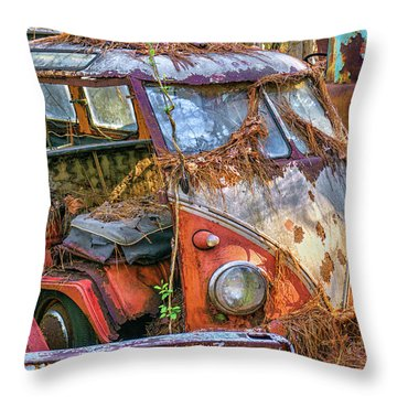 Retired Vw Bus Throw Pillow