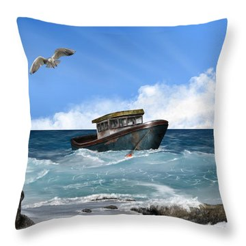 Throw Pillow featuring the digital art Retiring From The Fleet by Mark Taylor