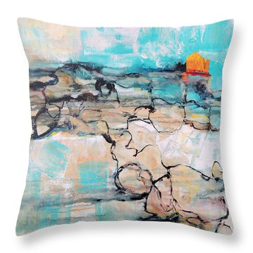 Throw Pillow featuring the painting Retreat by Mary Schiros