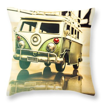 Retro 60s Toy Van Throw Pillow