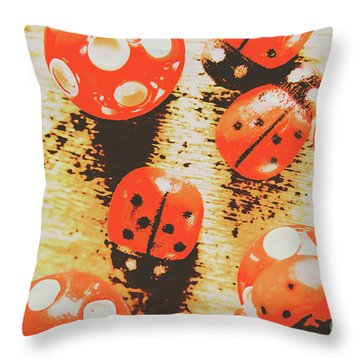 Retro Art Bug Throw Pillow
