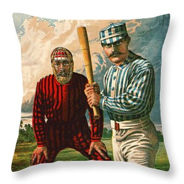 Retro Baseball Game Ad 1885 B Throw Pillow