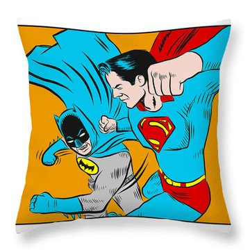 Retro Batman V Superman Throw Pillow