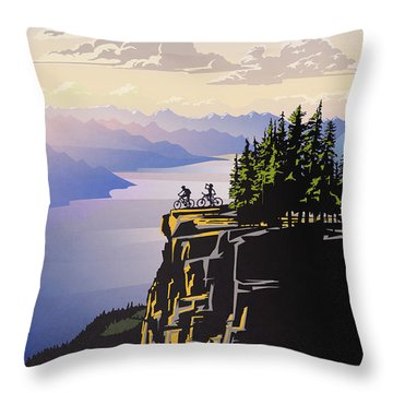 Retro Beautiful Bc Travel Poster Throw Pillow
