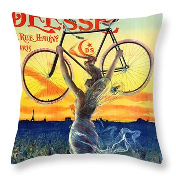 Throw Pillow featuring the photograph Retro Bicycle Ad 1898 by Padre Art